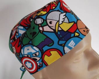 Packed Kawaii-  Men's Surgical Scrub Hat  with sweatband option, scrub cap, bakers hat, 137-900