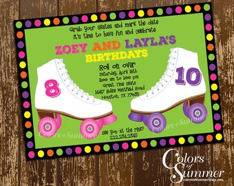 Free Roller Skating Birthday Party Invitations ~ Roller skate birthday invitation skate party invitation