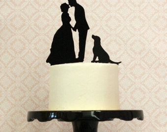 YOU and YOUR DOG or Pets on a Custom Silhouette Wedding Cake Topper, Custom Dog Cake Topper, Personalized Cake Topper with dog pet