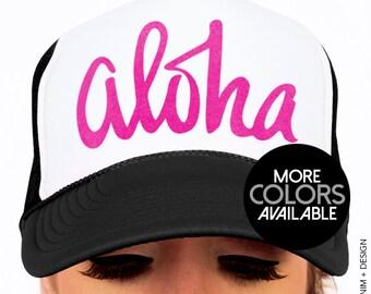 Aloha Hat, Trucker Hat, Adjustable Snap Back Cap, Beach, Summer, Vacation, Hawaii, Men's Hat, Women's Hat