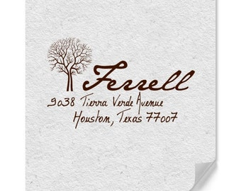 Personalized Return Address Stamp, Custom Address Stamp, Customized Stamps, Tree Address Stamp, Wood Mounted Stamp, Family Tree Stamp, Fall