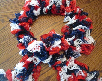 Red, White and Blue Ruffled Potato Chip Scarf