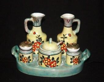 Vintage Japanese Lusterware Condiment Set 6 piece Set Mid Century