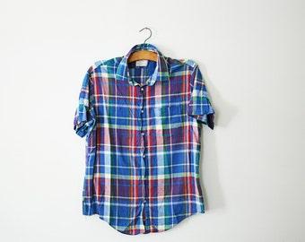 vintage 80s Guys Madras Plaid Button Down Colorful Shirt- XL