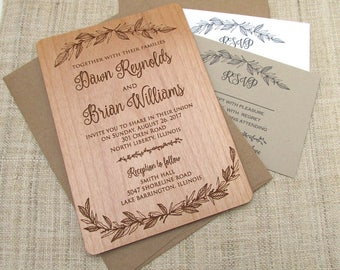 Botanical Wood Wedding Invitation - Floral Flower Wedding Invitation - Real Wooden Invite