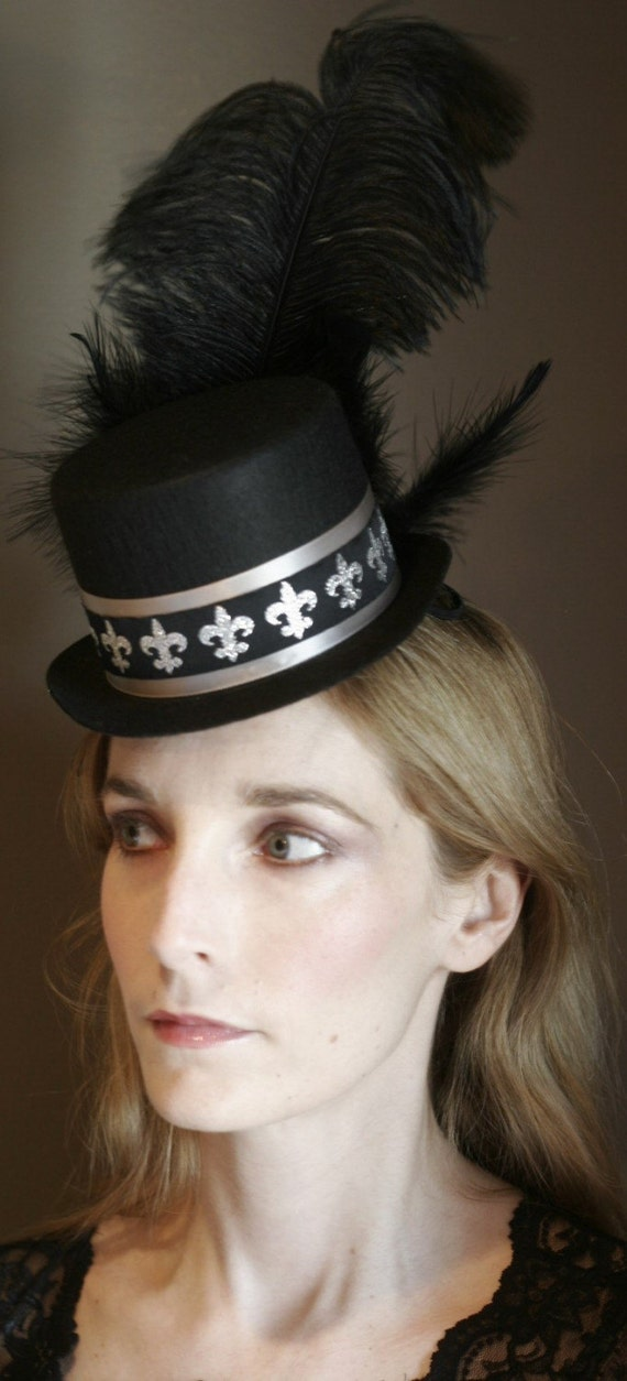 Fleur De Lis - Black and Silver Mini Top Hat with ostrich feathers