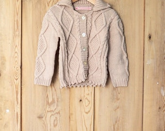 Biscuit Hand knit cable cardigan