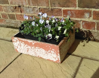 Vintage solid wood crate with orange & white chippy paint, storage box or planter
