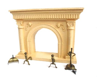 vintage fireplace mantle and tool set miniature dollhouse furniture antique dollhouse furniture antique toy and miniature