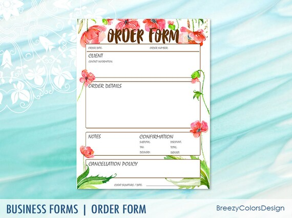 Garden Order Form Template For Home Decor Shops Event