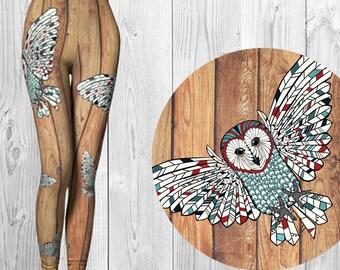 Eco Friendly Yoga Pants - Owl - Festival Tights - Barnboard