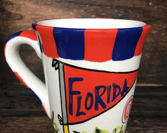 Licensed University of Florida, Gators Ceramic Coffee Mug with my Hand Poured, Soy Candle, Choose Your Scent