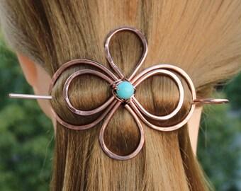 Celtic Hair Clip Hair Pin, Copper Hair Barrette Stick, Texture Hair Slide, Unique Hair Jewelry Metal Pin Hair Accessories Women Gift for Her