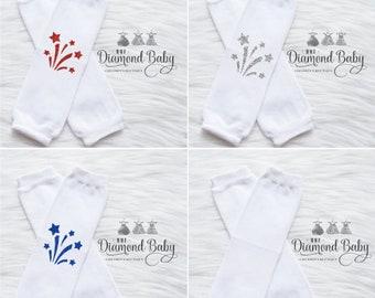 Firework Leg Warmers-4th of July Leg Warmers-Summer Leg Warmers- Patriotic Leg Warmers- Baby Leg Warmers-White Baby Leg Warmers