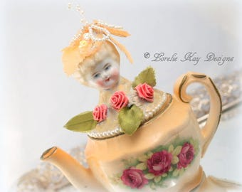 Peachy Roses Teapot Art Doll Functional Mixed Media Assemblage Blonde China Head Doll Lorelie Kay Designs