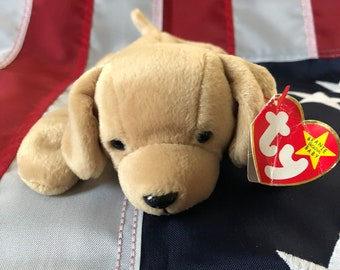 Retired Fetch beanie baby, DOB February 4, 1997, made with PE Pellets
