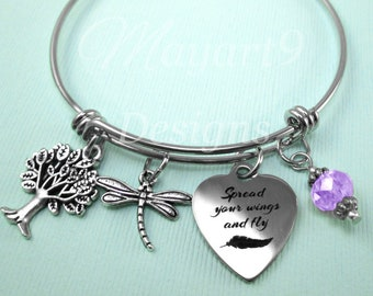 Spread Your Wings and Fly,Graduation,Bracelet,Bangle,Stainless Steel,Jewelry,Charm Bracelet,Gift For,Personalized,Birthstone,Tree of Life