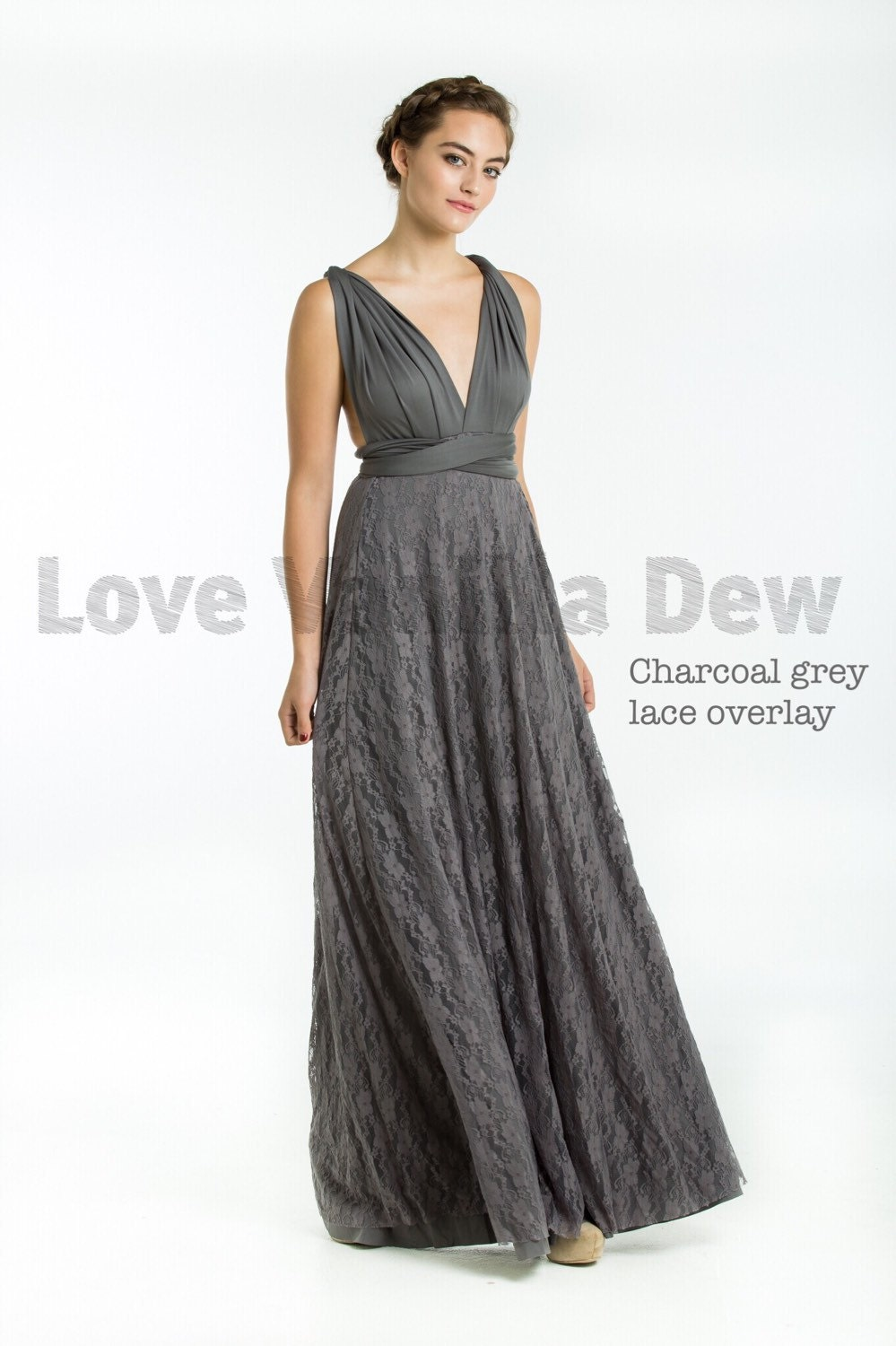 Bridesmaid dress infinity dress charcoal grey lace floor zoom ombrellifo Choice Image