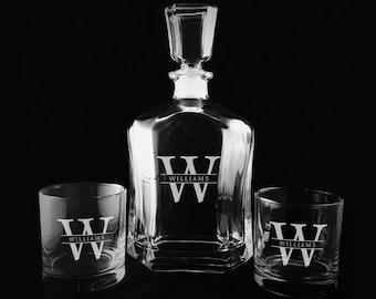 Custom Whiskey Decanter Set, Engraved Monogrammed Decanter, Etched, Wedding Gifts, Etched Decanter, Engraved Whiskey Glasses, Personalized