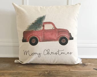 Red Truck Pillow Cover (Merry Christmas)