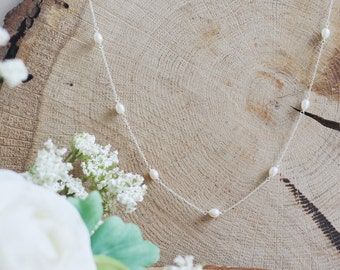Bridal pearl necklace, bridal jewelry, pearl wedding necklace, freshwater pearl, sterling silver, bridal accessories, simple necklace
