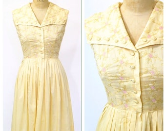 1950s Meg Marlowe Dress With Embroidered Bodice