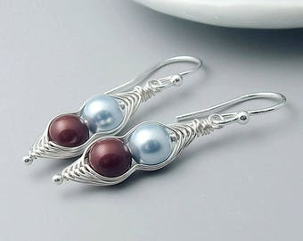 Peapod Earrings, Sterling Silver Pearl Peas in a Pod earrings, 2, 3 or 4 peas, mothers, mom jewelry,