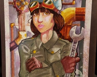 203 - Print of Original Steam Punk Girl Mechanic Water Color Painting - Last Copy