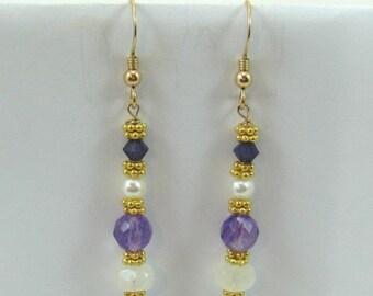 Moonstone, Amethyst, Pearl and Purple Swarovski Crystal Earrings (EV5)