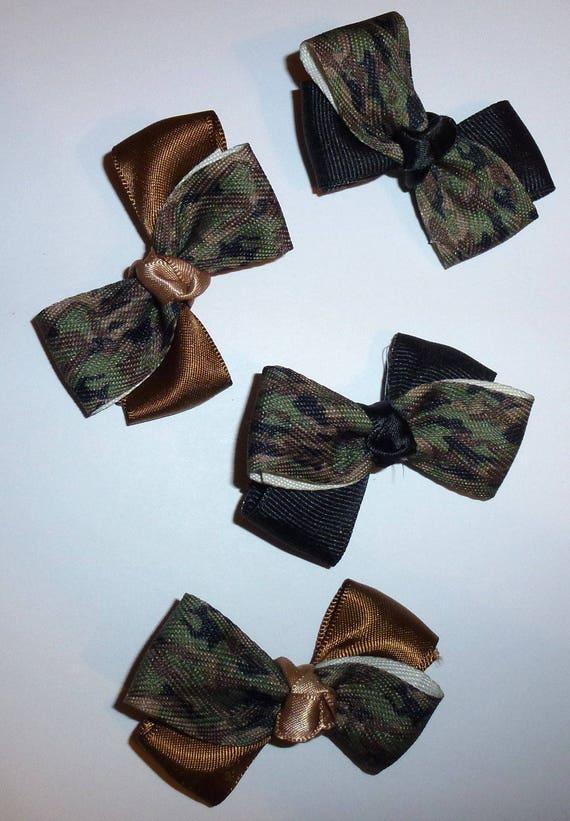 Puppy Bows ~ 4 camo black/brown boys  pet hair bow latex band ~Usa seller (fb92)