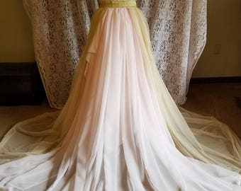 Champagne and blush full bridal skirt with chiffon train
