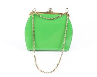 Vintage 60s 70s Vinyl Handbag Lime Green Chain Strap Small Purse Cocktail Bag 1960s 1970s