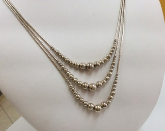 Vintage Handmade 925 Sterling Silver Three String Necklace With Beads!!!   Free US Shipping!!!