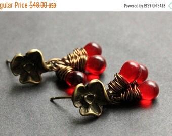 SUMMER SALE BRONZE Earrings - Teardrop Earrings. Teardrop Cluster Dangle Earrings. Post Earrings. (Choose Your Color) Handmade Jewelry.