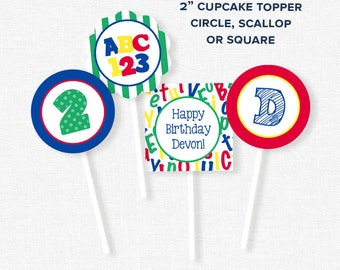 Alphabet Party Cupcake Toppers, ABC123 Birthday Decorations, Alphabet Party Circles, Printable Birthday Cupcake Toppers, Primary