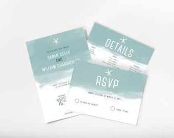 No. 15 | Printable 5 x 7 Wedding Invitation | 5 x 3.5 RSVP | 5 x 3.5 Details Card | Destination Wedding | Beach