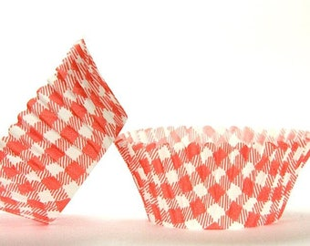50pc Standard Size Red Gingham/Plaid Baking Cup With Greaseproof Liner