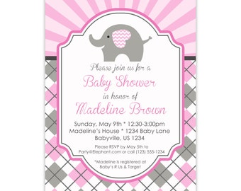 Elephant Invitation - Pink Gray Argyle, Cute Baby Elephant Personalized Baby Shower Invite, Birthday Party Invite - a Digital Printable File