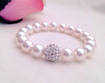 White Swarovski pearls with Shamballa glitter balls, flower girl gift, bridesmaid bracelets, flower girl bracelet, daughter's birthday, pink