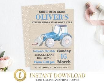Blue Tractor Invitation, Tractor Birthday, Tractor Party, Farm Invitation, Tractor Invite, Farm Birthday, Birthday Invitation, Printable