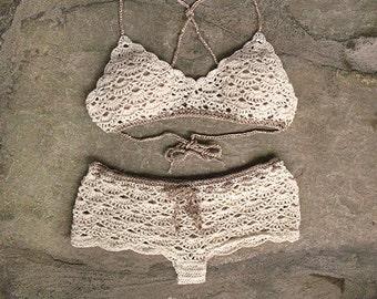 High waist bikini set, Lace crochet bikini top and high waisted bottom, Lace crochet shorts, Boho bikini set, Romantic crochet bikini set