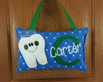 Boys tooth fairy pillow, blue with white stars, optional tooth chart