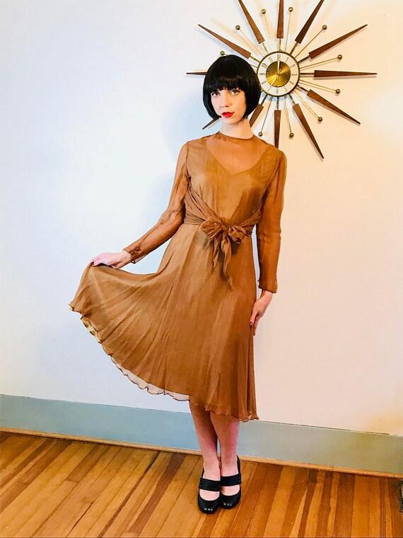 Vintage late 40s dress, Sheer Silk dress, Silk Chiffon dress, Carmel Brown long sleeve dress, 50s cocktail dress, fit & flare