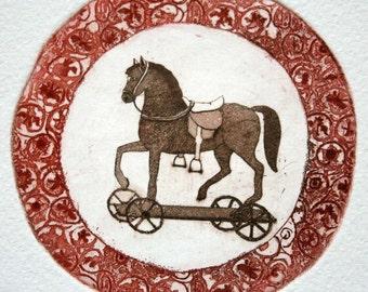 Etching - horse etching - horse art - printmaking - fine art etching - original etching - original art - 'Little Horse'