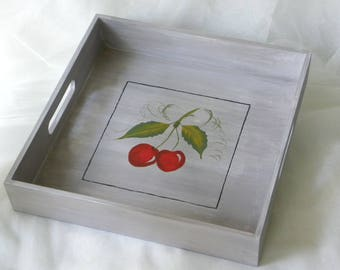 Wooden tray - gray rustic tray with cherry design