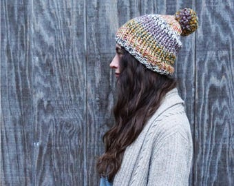The Balsam Toboggan // MORE COLORS// Hand Knit Women's Beanie // Chunky vegan Knit Hat// Women's Hat with Pom Pom// Women's Hand Knit Toque