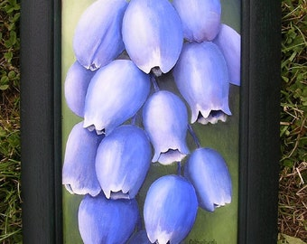 Grape Hyacinth Painting - Blue Flower Botanical 3D Floral Wall Art Sculpted in Paper