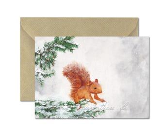 Squirrel card - Snow squirrel watercolor Illustration