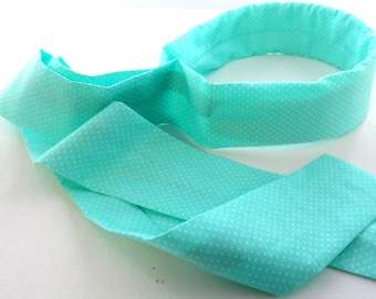 Structured Head Scarf (Turquoise w/ White Polka Dots)
