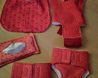 Doll diaper /Nappy set Bib Diaper /Nappies Wet Wipes, Doll Carrier pretend play set,